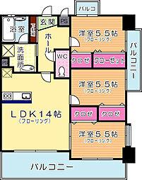 ガーデン・コートSUNATSU[9階]の間取り