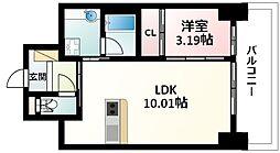 Osaka Metro御堂筋線 江坂駅 徒歩5分の賃貸マンション 6階1LDKの間取り