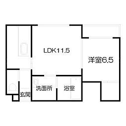 北海道札幌市中央区南五条西12丁目の賃貸マンションの間取り