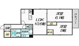 パークサイドメゾン新梅田 3階2LDKの間取り