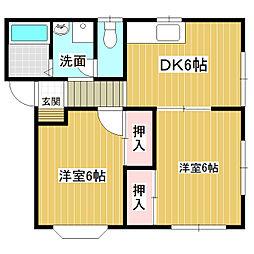 コーポ室岡B棟[1階]の間取り