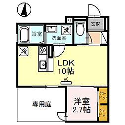 (仮称)D-room玉井町 1階1LDKの間取り