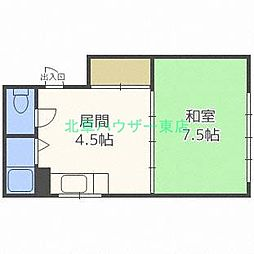 北海道札幌市東区北二十三条東16丁目の賃貸アパートの間取り