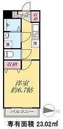 京成本線 京成高砂駅 徒歩5分の賃貸マンション 4階1Kの間取り