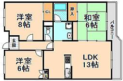 兵庫県伊丹市安堂寺町5丁目の賃貸マンションの間取り