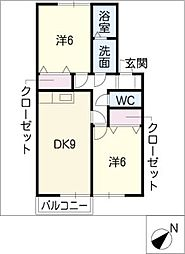 セジュール鳴丘[1階]の間取り