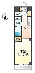 愛知県北名古屋市沖村西ノ郷の賃貸マンションの間取り