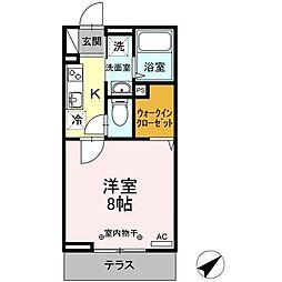 仙台市営南北線 五橋駅 徒歩10分の賃貸アパート 1階1Kの間取り