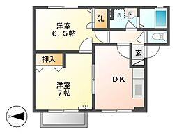フラッツ山崎[1階]の間取り