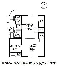 長野県岡谷市山下町1丁目の賃貸アパートの間取り