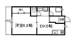 第6シャトーモリオカ(1DK)[410号号室]の間取り