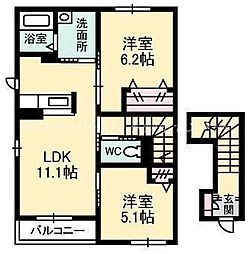 JR津山線 玉柏駅 徒歩20分の賃貸アパート 2階2LDKの間取り