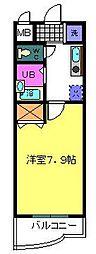 ルーチェI番館 1階1Kの間取り