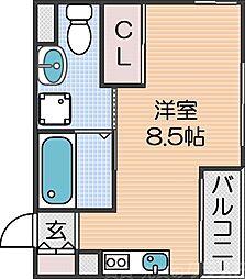 南海線 粉浜駅 徒歩4分の賃貸マンション 3階ワンルームの間取り