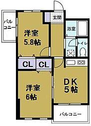 シャトー夕凪[5階]の間取り