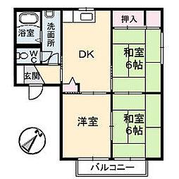 広島県福山市野上町2丁目の賃貸アパートの間取り