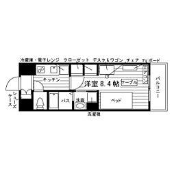 (仮称)大橋駅学生マンション 4階1Kの間取り