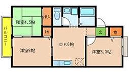 大阪府大阪市東住吉区住道矢田8丁目の賃貸アパートの間取り