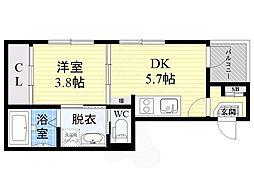 Osaka Metro谷町線 野江内代駅 徒歩7分の賃貸アパート 3階1DKの間取り