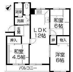 兵庫県神戸市須磨区高倉台6丁目の賃貸アパートの間取り