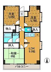 ピオニー3[4階]の間取り