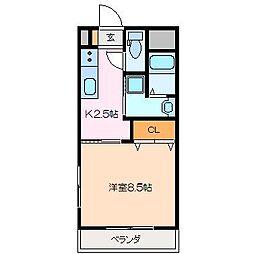 三重県松阪市久保田町の賃貸マンションの間取り
