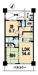 近江八幡グリーンマンションII番館[7階]の間取り