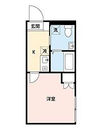 カインドネス所沢宮本町A棟 1階1Kの間取り