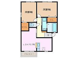 セジュール富士見台 A棟[2階]の間取り