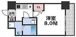 レジュールアッシュ天王寺舟橋 7階1Kの間取り