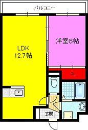 クレールK 3階1LDKの間取り