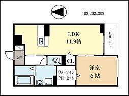 京阪本線 淀駅 徒歩31分の賃貸アパート 2階1LDKの間取り