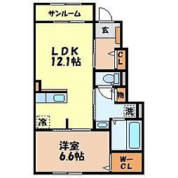 エターナル レジデンス I 1階1LDKの間取り