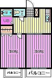 埼玉県川口市朝日の賃貸アパートの間取り