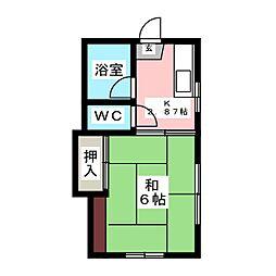 六番丁ハイツ[2階]の間取り