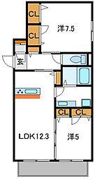 Osaka Metro谷町線 守口駅 徒歩10分の賃貸アパート 2階2LDKの間取り
