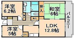兵庫県伊丹市柏木町1丁目の賃貸マンションの間取り