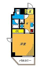 旗の台アパートメント 6階1Kの間取り