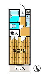 中江川ハイム[1階]の間取り