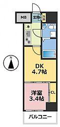 No77 HANATEN 002[3階]の間取り