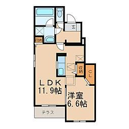 南海高野線 御幸辻駅 徒歩13分の賃貸アパート 1階1LDKの間取り