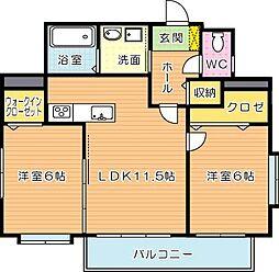 ディアコート鷹の巣[6階]の間取り