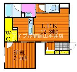 JR宇野線 妹尾駅 徒歩15分の賃貸アパート 1階1LDKの間取り