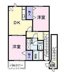広島県廿日市市上平良の賃貸アパートの間取り