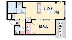 JR東海道・山陽本線 魚住駅 徒歩2分の賃貸マンション 1階1LDKの間取り