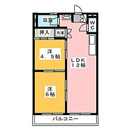 シャトー共栄 A棟、B棟[4階]の間取り