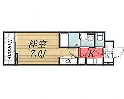 京成本線 公津の杜駅 徒歩22分の賃貸アパート 2階1Kの間取り