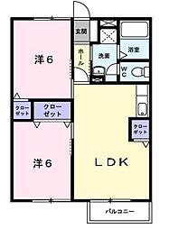 レジデンスCALM−B[0102号室]の間取り