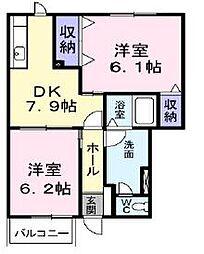 香川県綾歌郡宇多津町津の郷の賃貸アパートの間取り