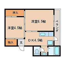 JR和歌山線 北宇智駅 徒歩11分の賃貸マンション 4階2DKの間取り